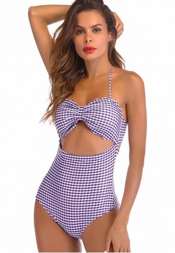 LYCKA purple LWD7276a-European Style Lady Swimsuit-Purple AF393US37D615DGS_1