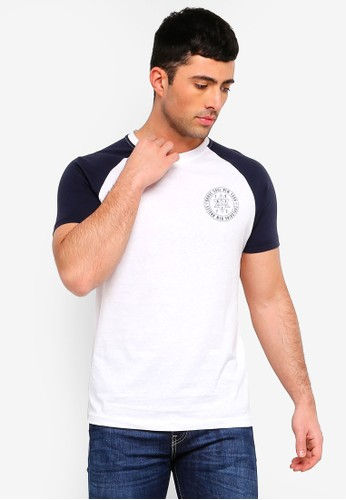 Brave Soul white and navy Everest Contrast Raglan Sleeve T-Shirt 3F3C8AA5834000GS_1
