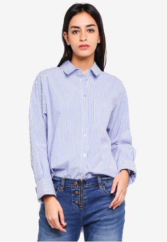 ESPRIT white and blue and multi Woven Long Sleeve Shirt 30B48AAA50C2C3GS_1