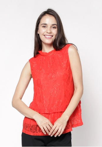 NE Double S red High Gathered Sleeveless Lace Blouse 11497AA1CA68C5GS_1