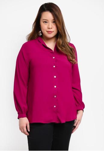 Ex'otico purple Plus Size Long Sleeve Shawl Collar Blouse 0ED91AA04A24C6GS_1