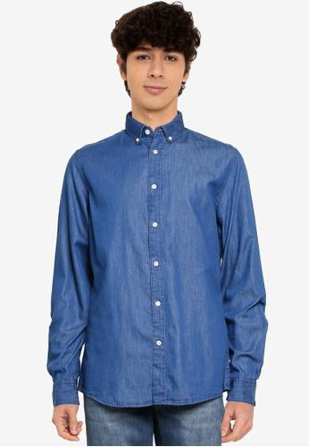 Springfield blue Lightweight Denim Shirt 978D6AA67AD428GS_1