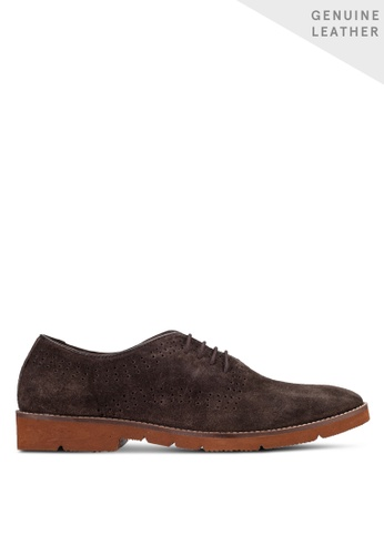 ZALORA brown Cowhide Sude Leather Dress Shoes 0F06CSH5FE9527GS_1