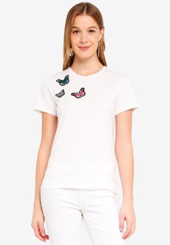 Dorothy Perkins 白色 蝴蝶鑽飾T恤 5DAF3AA821DEF8GS_1