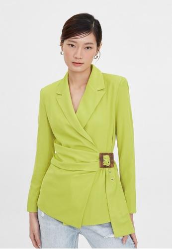 Pomelo green Side Wrap Buckle Belt Blazer - Green 54B79AAC6B6155GS_1