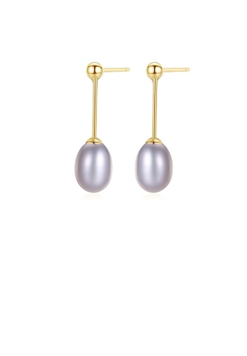 Glamorousky purple 925 Sterling Silver Plated Gold Simple Elegant Purple Freshwater Pearl Earrings D1A88AC3433F36GS_1