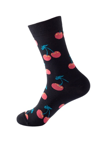 Kings Collection black Cherry Pattern Cozy Socks (One Size) HS202248 B1F81AABD487C0GS_1
