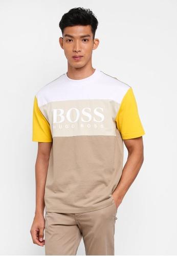 BOSS 米褐色 短袖印花T恤 B2307AAB41090FGS_1