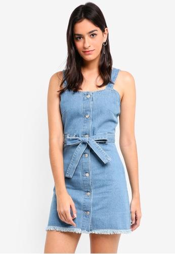 ZALORA blue Self Tie Pinafore Denim Dress D09A3AAE72186AGS_1