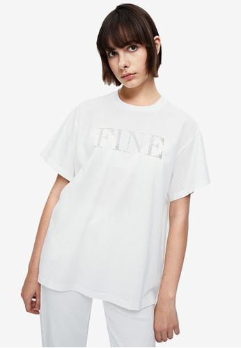 URBAN REVIVO white Simple Loose T-Shirt 53F06AA6A1BD1DGS_1