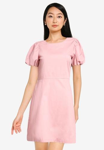 ZALORA BASICS 粉紅色 公主袖合身洋裝 59A07AACE2E31FGS_1