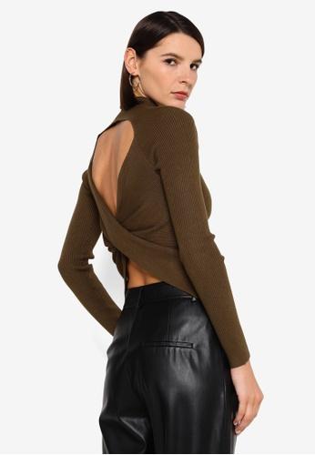 Vero Moda brown Belina Long Sleeve High Neck Cut Out Blouse C9CFDAA5CB2095GS_1