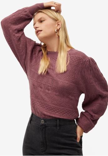 Violeta by MANGO pink Plus Size Openwork Knit Sweater 61364AAEAF2CF4GS_1