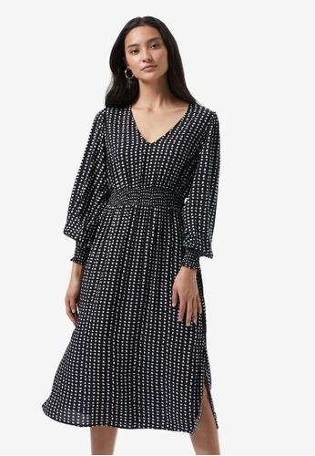 Dorothy Perkins black Petite Shirred Waist Midi Skater Dress 72694AAB0372C6GS_1