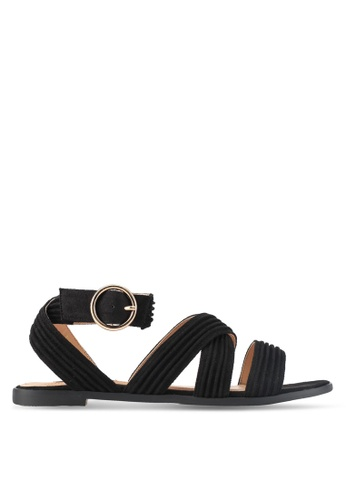 ZALORA black Microfiber Sandals 7E76FSHBADF561GS_1