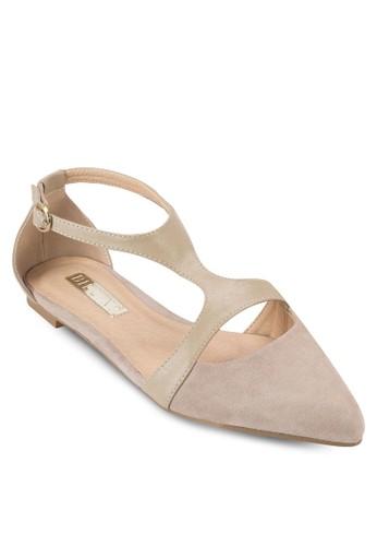 Sabbath esprit台灣網頁側鏤空尖頭平底鞋, 女鞋, 鞋