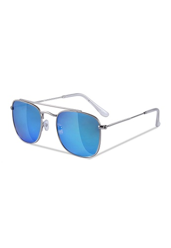 Sensolatino Eyewear black and brown and red and blue and silver Sensolatino Series Rodi Silver Frame With Ice Blue Mirrored Polarized Lenses B555DGLF82198DGS_1