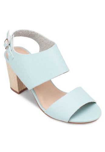 一字帶繞踝粗跟涼鞋, 女zalora 心得鞋, 中跟