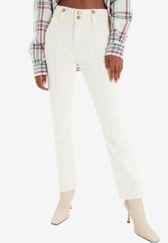 Trendyol white Ecru High Waist Jeans C19A4AA88CC117GS_1
