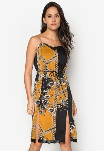 細肩帶印花及膝連身裙, 服esprit 衣服飾, 洋裝
