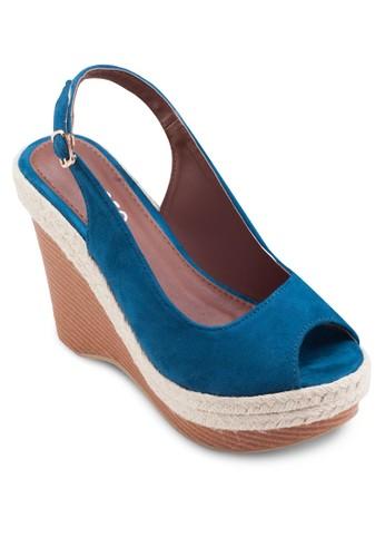 露esprit分店趾繞踝麻編楔型跟鞋, 女鞋, 楔形涼鞋