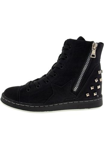 Maxstar 黑色 新款韩国鞋20H-7H-TC時尚皮革布混合女黑色 US Women Size MA345SH96HBBTW_1