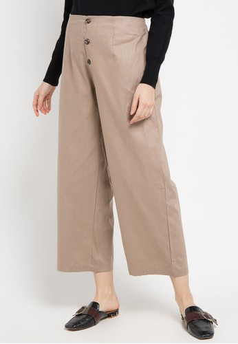 ZAHRA SIGNATURE brown Cotton Linen Culotte 2A128AA9B2E603GS_1