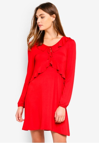 Brave Soul red Long Sleeve Dress With Ruffle Detail 38FABAA47F73EAGS_1