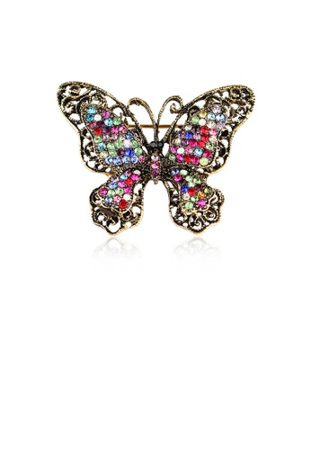 Glamorousky silver Fashion Vintage Plated Gold Butterfly Brooch with Cubic Zirconia 1D1D5AC2792825GS_1