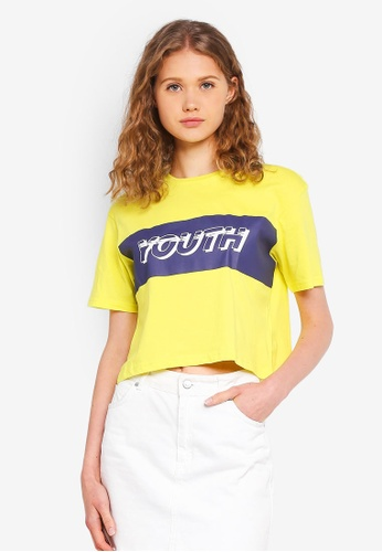 Factorie yellow Graphic Boxy Tee 80BF3AA64C8B8FGS_1