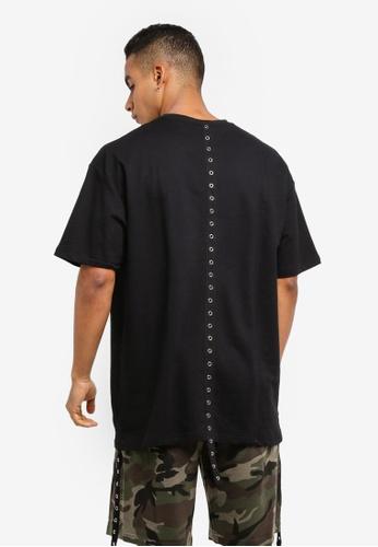 Flesh IMP black Skurge Eyelet Tape Oversized T-Shirt 372D9AA67B91D9GS_1
