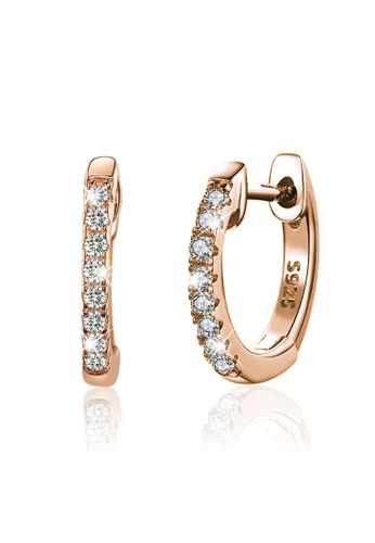 925 Signature 925 SIGNATURE Solid 925 Sterling Silver Sparkling Zircon Rose Gold Hoop Huggie Earrings B371FACE445031GS_1