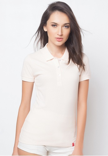 Guitar beige Solid-toned Polo Shirt GU661AA88AFJPH_1