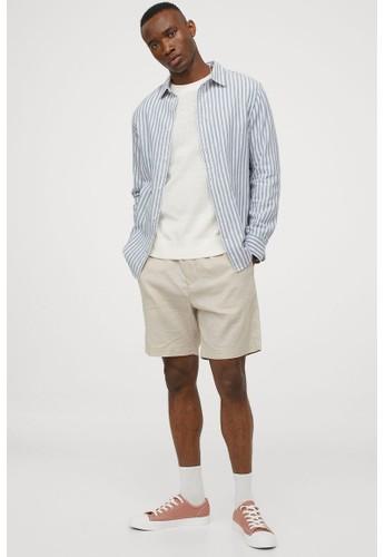 H&M blue Linen-blend shirt Slim Fit F0C90AA03E2919GS_1