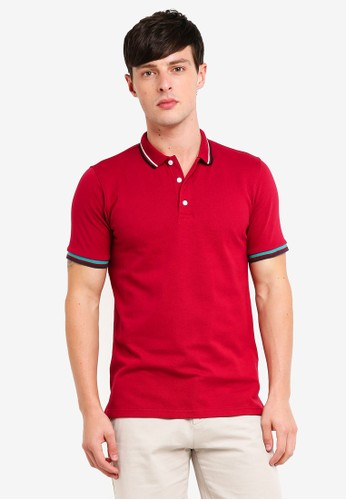UniqTee red Stripe Cuff Polo Shirt 0D617AABD5AD3EGS_1