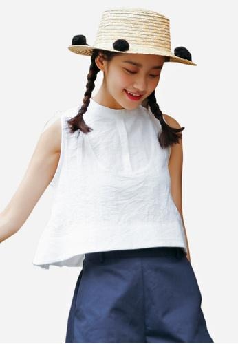 Shopsfashion white Oriental Collar Cut In Top in White SH656AA0F0QCSG_1