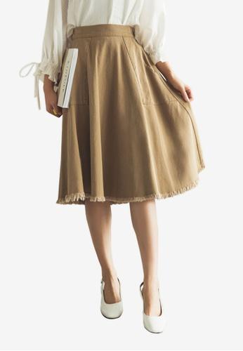 Tokichoi beige Ruffled Knee Length Skirt 64B9AAADF83815GS_1