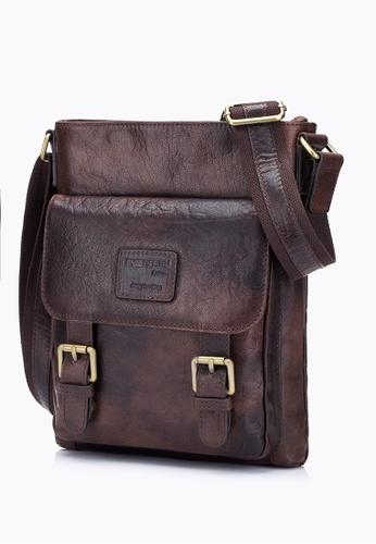 ENZODESIGN brown Antique Heavy Two Tone Buffalo Leather Slim Crossbody EN880AC07RRSHK_1