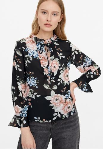 Pomelo black Semi Sheer Pleated Floral Blouse - Black 5F77FAAF97136EGS_1