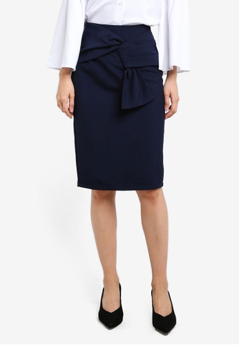 ZALORA navy Faux Wrap Skirt 7E588AA553722FGS_1