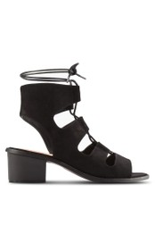 Something Borrowed black Laced Up Open Toe Block Heels 6EFD8SHC8DD282GS_1