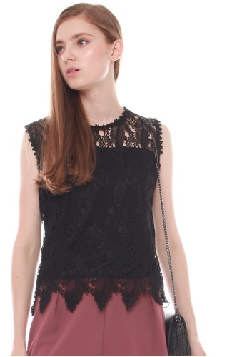 JOVET black Feather Lace Top 1DFB5AAC92E9F5GS_1