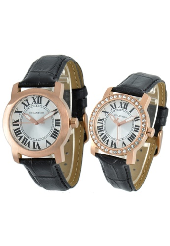 EGLANTINE gold EGLANTINE® - Emile & Emily - 2 Quartz Watches Rose Gold Plated Steel on Strap - Lady's with Crystals 78283AC584C21BGS_1