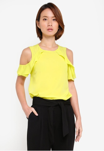 Dorothy Perkins green Lime Ruffle Cold Shoulder Top BD502AA2E069FBGS_1