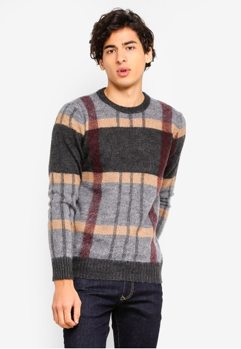 Sisley grey Checked Knitted Sweater 45EE9AA574A32FGS_1