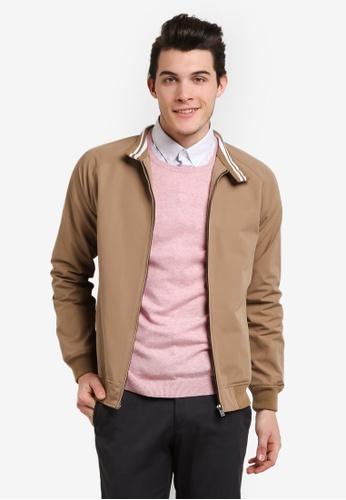 Burton Menswear London brown Tan Raglan Harrington Jacket BU964AA0RJEHMY_1