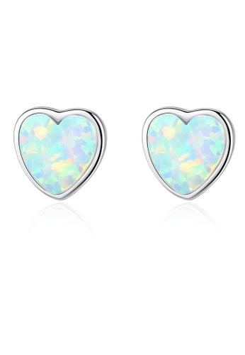 SUNRAIS silver High quality Silver S925 silver heart earrings 051A1AC17E240FGS_1