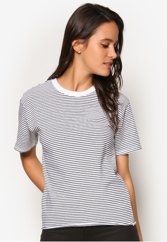 TOPSHOP navy Nibble Stripe T-Shirt TO412AA88OULMY_1