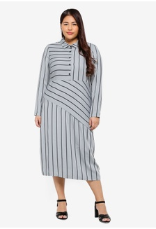 7d1088c8d9d Plus Size Shirt Dress In Mint Stripe E49F0AA06C8B74GS 1