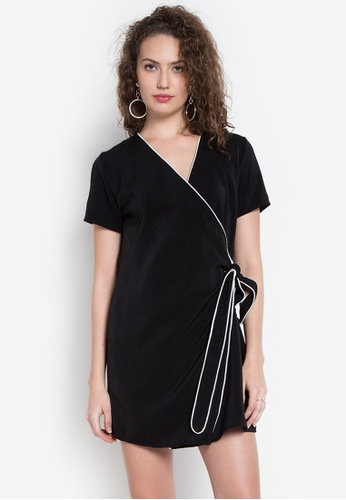 Hug black Bias Accent Wrap Around Dress HU902AA0KDPXPH_1